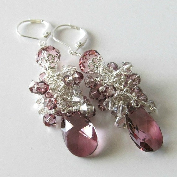 Antique pink crystal earrings crystal pear drop earrings wire wrapped silver earrings beaded jewelry