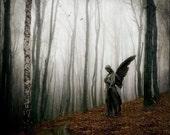 Sanctuary, 5x5 Inch Print - Gothic Angel Print