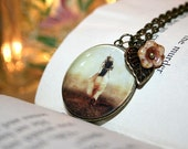 Glow, Charm Necklace, 18 Inch Chain, Antique Brass, Art Photo Pendant