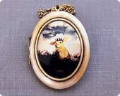 Large Photo Locket - The Little Bunny Prince, Woodland Spring Easter Rabbit, Wearable Photo Locket Necklace,