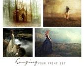 Longing, Set of Four 5x7 Fantasy Art Prints -  Wall Art Grouping, Sentimental, Romantic, Feminine