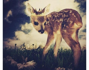 The Little Deer Prince,  8.5x11 Inch Print, Deer Print, Woodland Fairytale Art Print