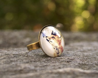 Fox Ring, The Little Fox Prince, Wearable Art,  Antique Gold Brass, Adjustable