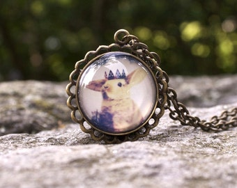 Little Bunny Prince Pendant, Wearable Art, Antique Gold Brass, 24 Inch Chain, Round, Vintage Inspired Necklace, Art Jewelry