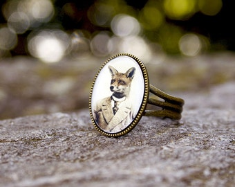 Mr. Fox Ring, Wearable Art,  Antique Bronze, Adjustable, Art Jewelry