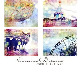 Carnival Dreams, Set of Four 5x5 Inch Prints -  Nursery Decor Wall Art Grouping, Carnival Art