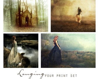 Longing, Set of Four 5x7 Fantasy Art Prints -  Wall Art Grouping, Sentimental, Romantic, Feminine