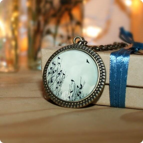 Flight, Bird Necklace, Photo Pendant, 18 Inch Chain, Antique Gold Brass