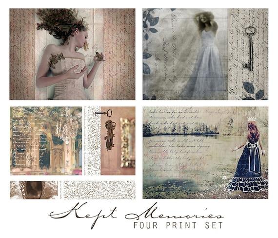 Kept Memories, Set of Four 5x5 Inch Prints - Wall Art Grouping, Sentimental, Romantic, Feminine