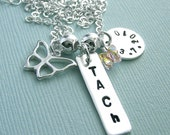 Dog Agility Title Necklace - Hand Stamped Sterling Silver Tag with Butterfly Charm and Disc