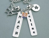 Hand Stamped Sterling Silver Personalized Title Necklace with Butterfly Charm and Disc - For Dog Agility Enthusiasts