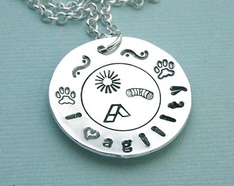 Dog Agility Necklace - i love agility -  Hand Stamped Sterling Silver - Canine Agility Jewelry