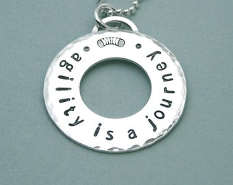 Agility is a journey - Hand Stamped Sterling Silver Washer - Affirmation Necklace