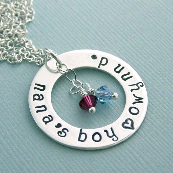 Grandmother/Auntie/Mother Personalized Washer Necklace - Sterling Silver