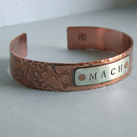 Unisex MACH Cuff Bracelet - Agility Title - Copper and Sterling Silver