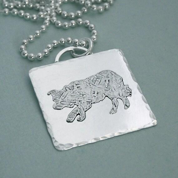 Stalking Border Collie Sterling Silver Necklace
