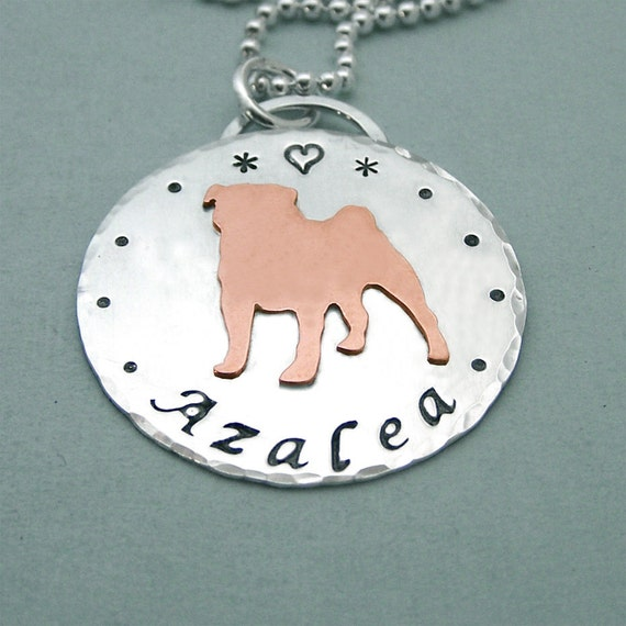Personalized Pug Necklace - Sterling Silver and Copper - Multum in Parvo