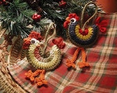 DOWNLOADABLE PDF PATTERN - Crocheted Rooster Ornaments
