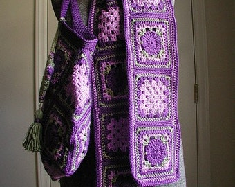 Vintage Style Granny Square Scarf DOWNLOADABLE PDF PATTERN
