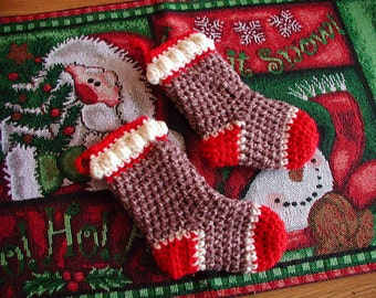 DOWNLOADABLE PDF PATTERN - Crocheted Sock Monkey Mini Stocking