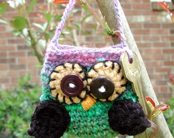 DOWNLOADABLE PDF PATTERN - Crocheted Mini Owlie Key Pouch