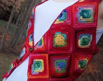 DOWNLOADABLE PDF PATTERN - Red Granny Square Crocheted Vest