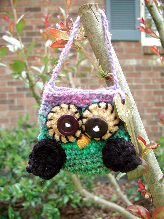 DOWNLOADABLE PDF PATTERN - Crocheted Mini Owlie Key Pouch