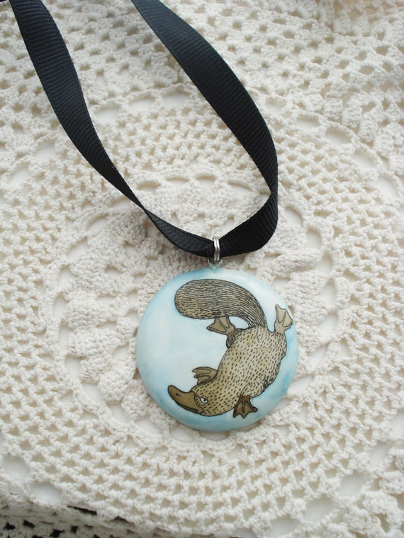 Platypus Illustration Pendant  - Illustrated Polymer Clay Pendant Necklace