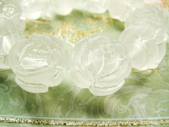 Crystal Matte Roses in Vintage Lucite (6bds) b1633
