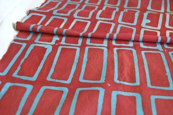 Bricks Hand Dyed fabric in turquoise and red