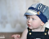 Child Jax Hats in blue and grey from recycled sweater