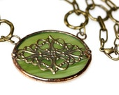 Oval Stained Glass and Filigree Pendant (SGO-P2)