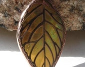 Stained Glass Leaf Filigree Pendant  (SGL-P5)