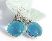 Blue Glass Gem Earrings