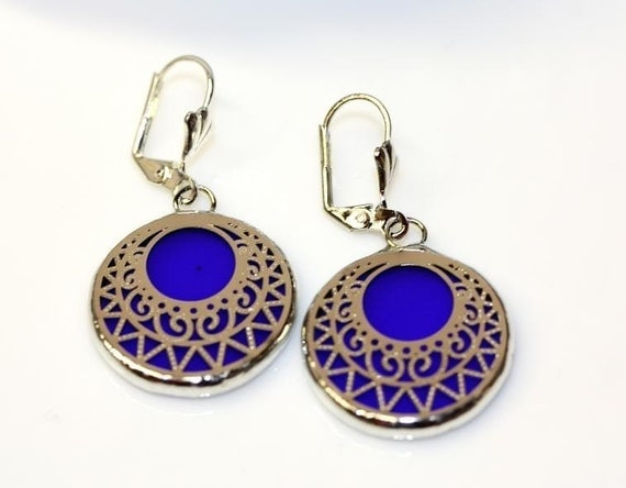 Round Stained Glass and Filigree Earrings  (SG-E3)