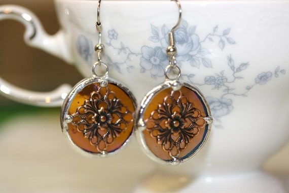Round Stained Glass and Filigee Earrings
