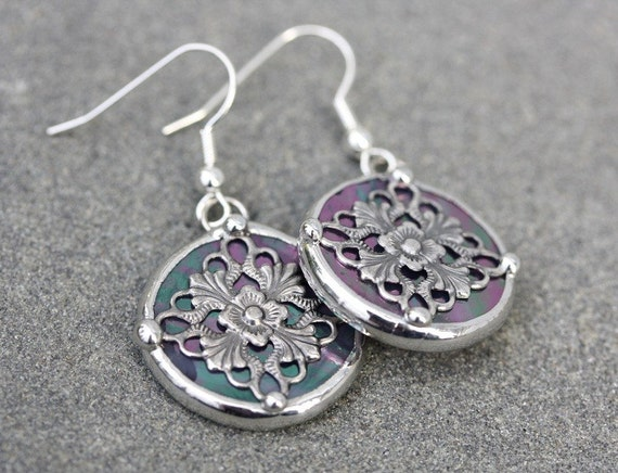 Round Stained Glass and Filigree Earrings (SG-E9)