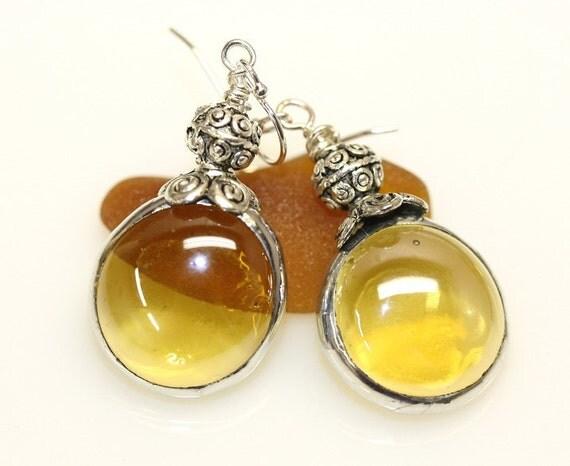 Amber Glass Gem Earrings