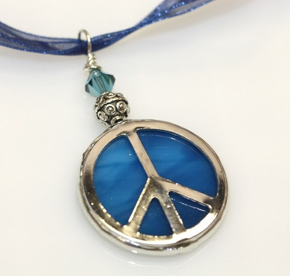 Round Stained Glass Peace Sign Pendant