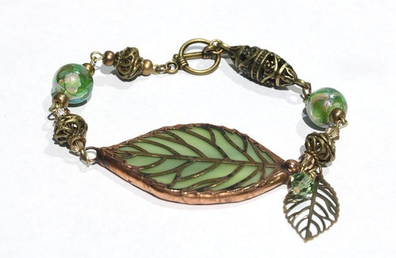 Stained Glass Leaf Bracelet (SGLbr-P5)