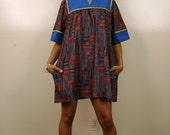 Vtg Bold Mod Print Oversized Ethnic Tent Dress S M L