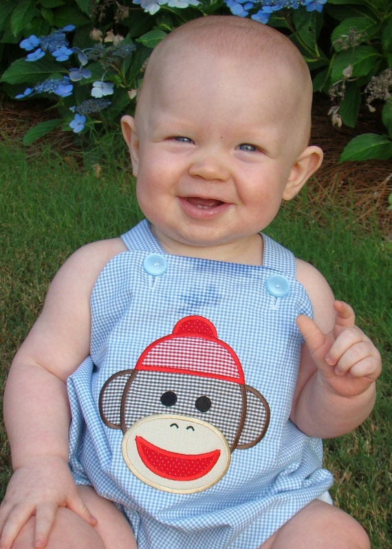 Sock Monkey Bubble for Boys Sock Monkey Birthday Party Outfit sizes 6m, 12m, 18m, 24m