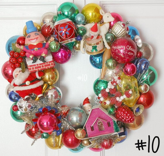 Vintage Ornament Wreath Christmas Kitsch and Shiny Brite Too