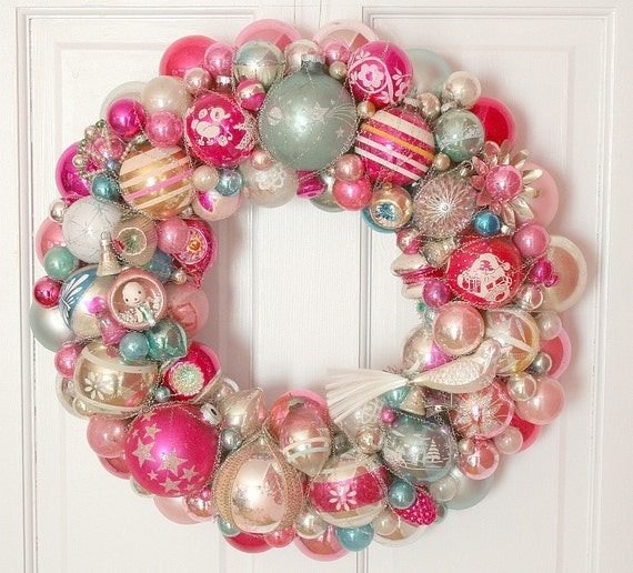 Special Pinks Aqua Vintage Ornaments Wreath Shiny Brite Fabulous BIG