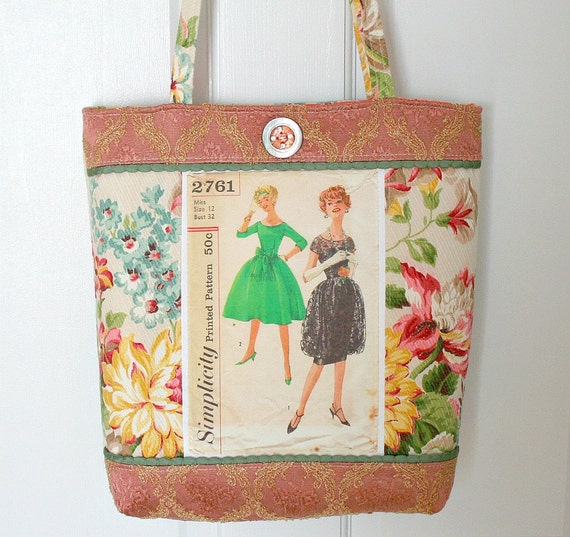 Vintage Sewing Pattern Elegant Tote Bag Purse FREE SHIP