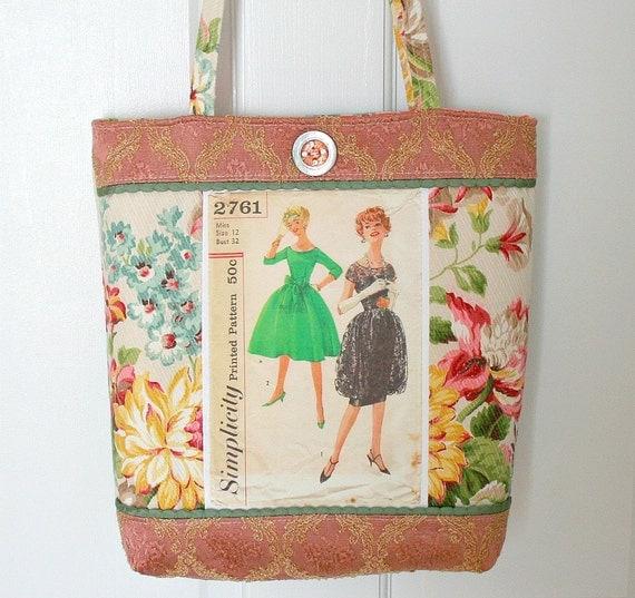 Vintage Sewing Pattern Elegant Tote Bag Purse FREE SHIP