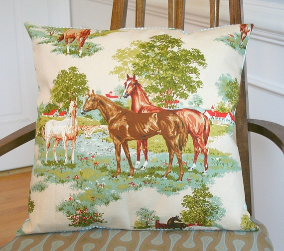 Vintage Horse Equestrian Cotton Pillow Cover FREE Shipping