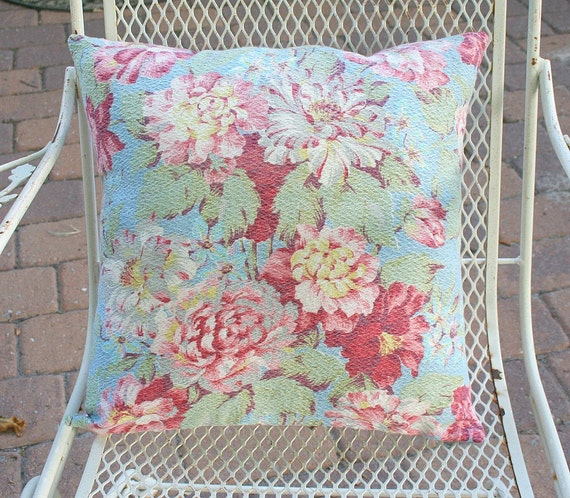 Vintage Barkcloth Pink Peonies Cotton Pillow Cover FREE Shipping