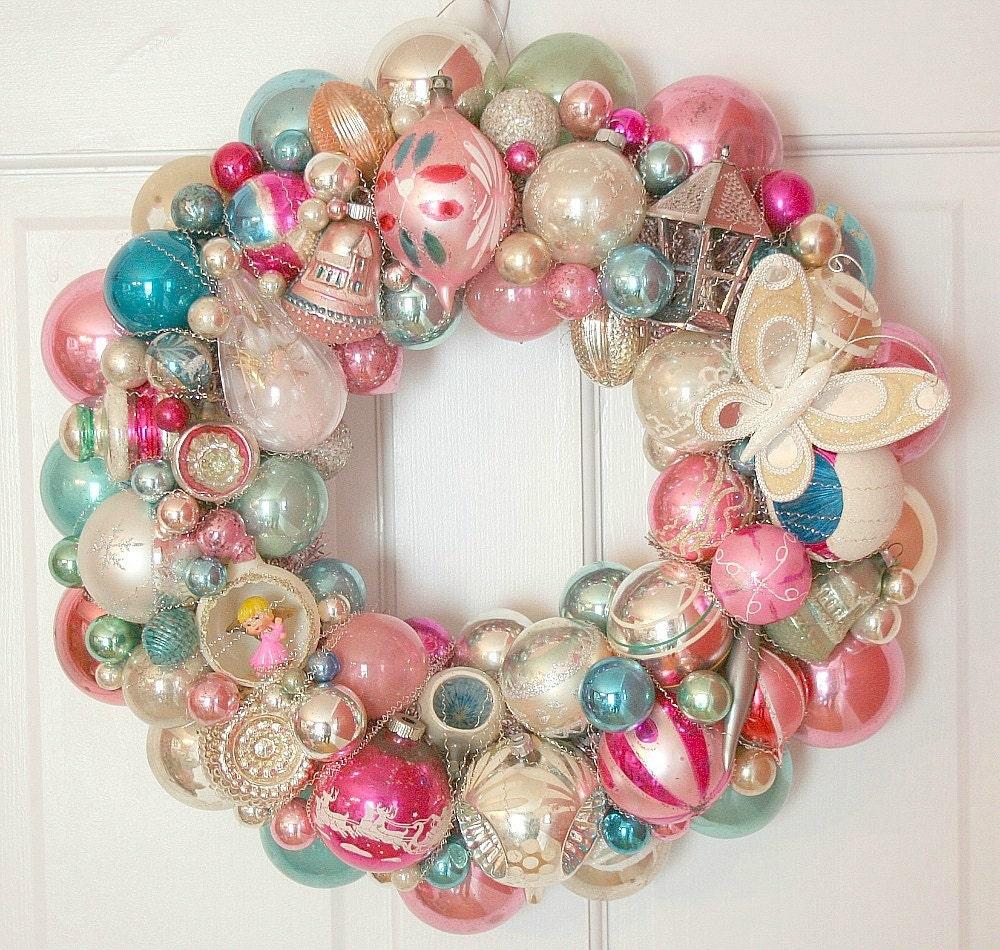 Vintage Christmas Ornaments Shiny Brite Wreath Pink And Aqua