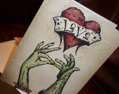"""Zombie Anniversary Love  """"The Kiss""""  Card Romantic  5x7 Greeting Card Blank inside by Agorables Undead"""